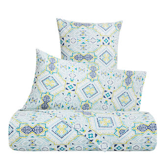 Duvet cover set in cotton percale with Aztec pattern