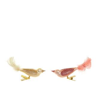 Uccellini con clip vetro soffiato a bocca da artigiani europei