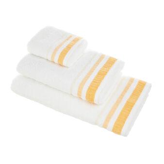 Asciugamano puro cotone bordo goffrato rigato