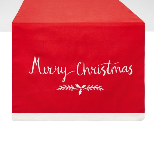100% cotton table runner with Merry Xmas embroidery