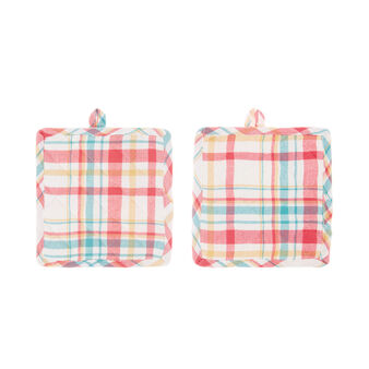 2-pack pot holders in cotton twill with Scottish design