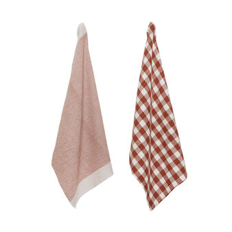 Two-pack 100% cotton tea towels with waffle weave