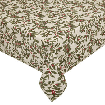 100% cotton tablecloth with glitter holly print