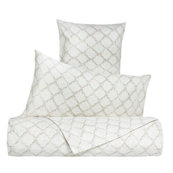 Bed linen set in 100% cotton percale with geometric pattern