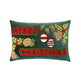 Cuscino velluto motivo natalizio ricamato 30x50cm
