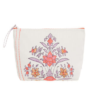 Cotton beauty case with embroidery
