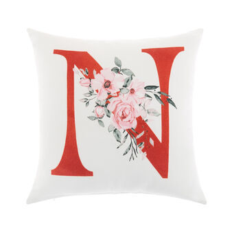 Cotton cushion cover with N print 45x45cm