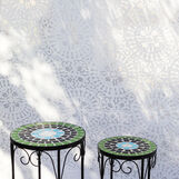 Set of 2 Mosaic tables with mosaic in steel