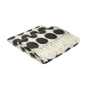 Throw with polka dot motif and fringing