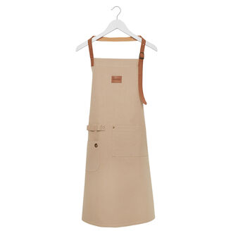 100% cotton kitchen apron with leather-look details