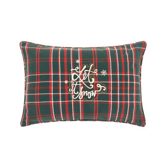 Cotton cushion with tartan embroidered motif 35x55cm