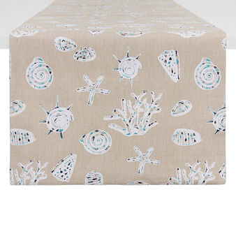 100% cotton table runner with shell print
