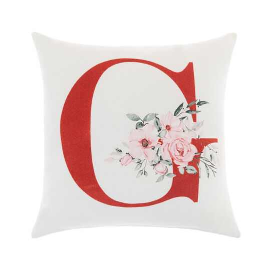 Cotton cushion cover with G print 45x45cm