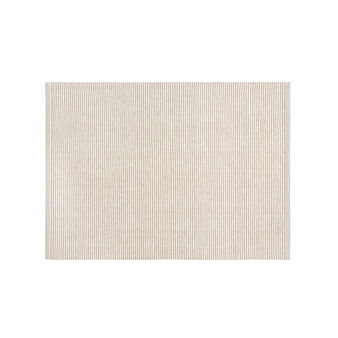Ribbed and embroidered table mat in 100% cotton
