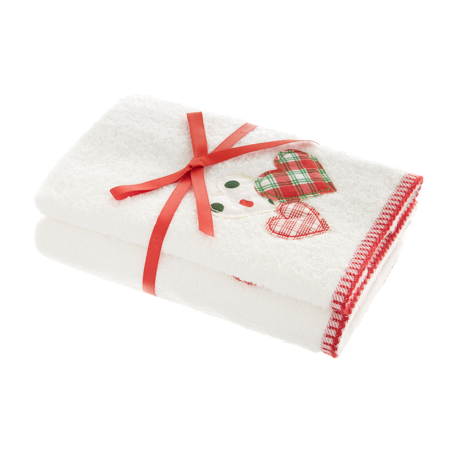 Set 2 asciugamani ricamo cuori tartan