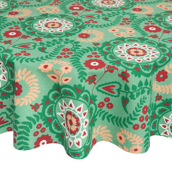 Round water-repellent 100% cotton tablecloth with abstract print