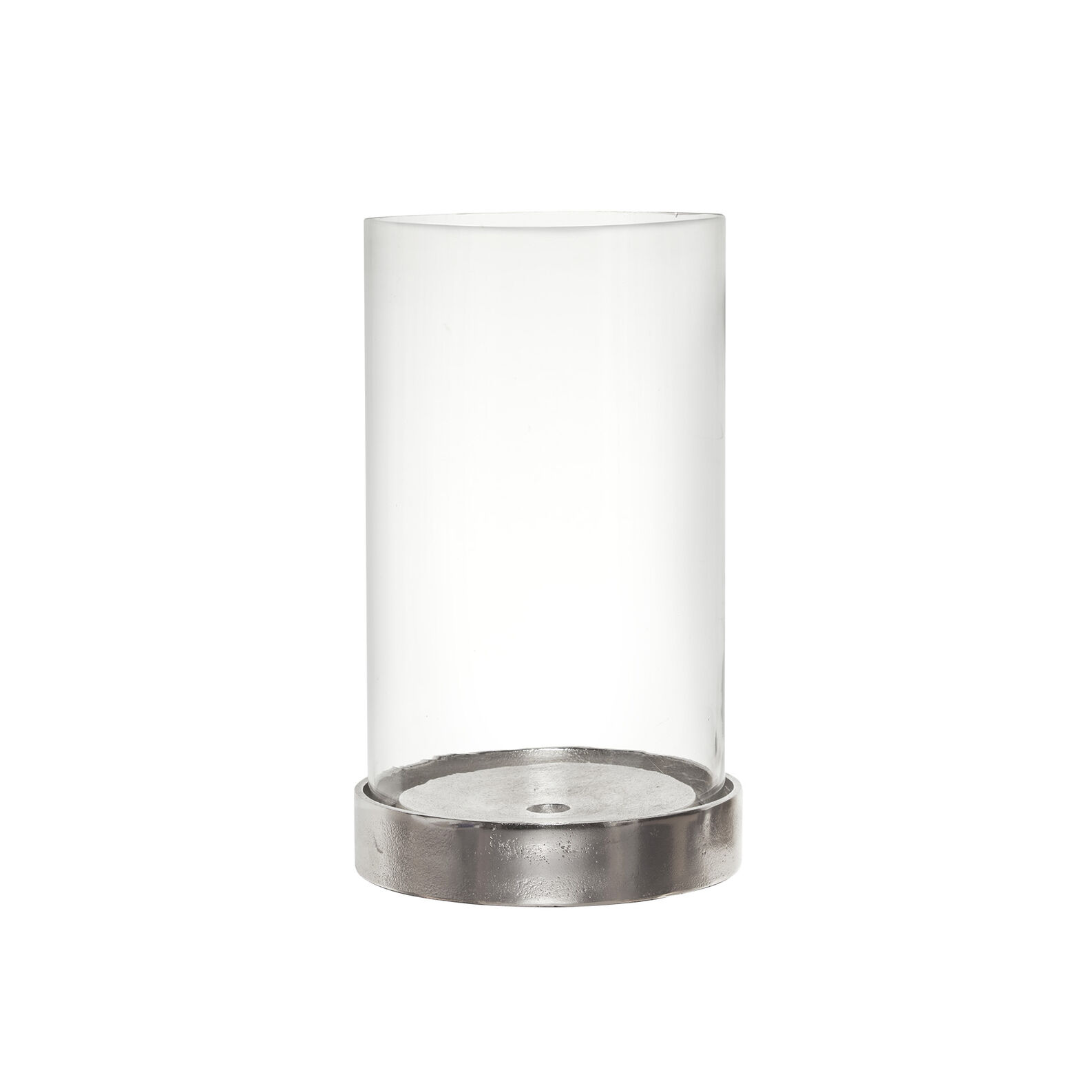 Windproof candle holder in glass and aluminium