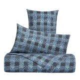 Duvet cover set in cotton percale with check pattern