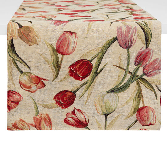 Gobelin jacquard table runner with tulips motif