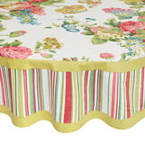 Round 100% cotton tablecloth with flowers and stripes print