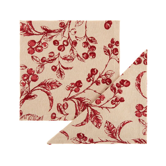 Set of 2 napkins in 100% cotton with round peppers print
