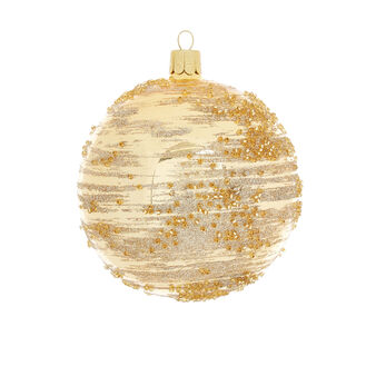 Bauble with stripes in hand-blown glass D8cm