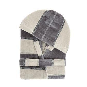 Bathrobe in 100% cotton with stripes