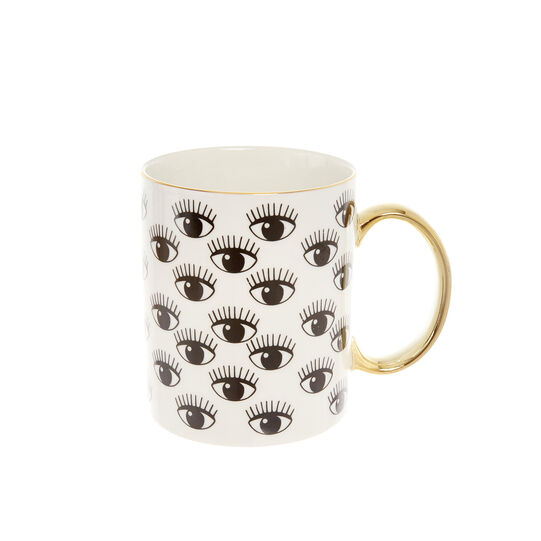 Porcelain mug with eye motif