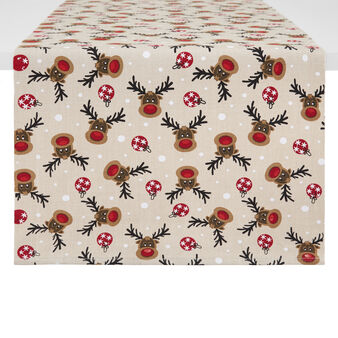 100% cotton table runner with Rudolph print