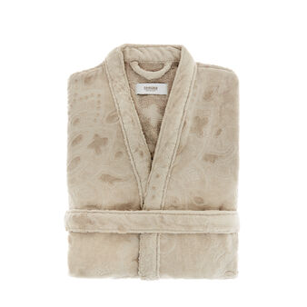 Cotton bathrobe with damask jacquard motif