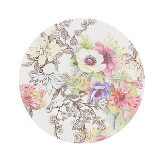 Plastic charger plate with floral decoration
