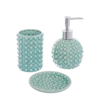 Ceramic bath set with bubble motif