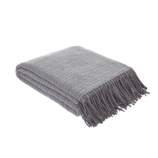 Cotton blend throw with fringes