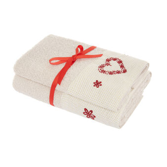 Set of 2 cotton towels with embroidered heart