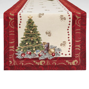 Table runner in gobelin fabric with lurex Christmas motif