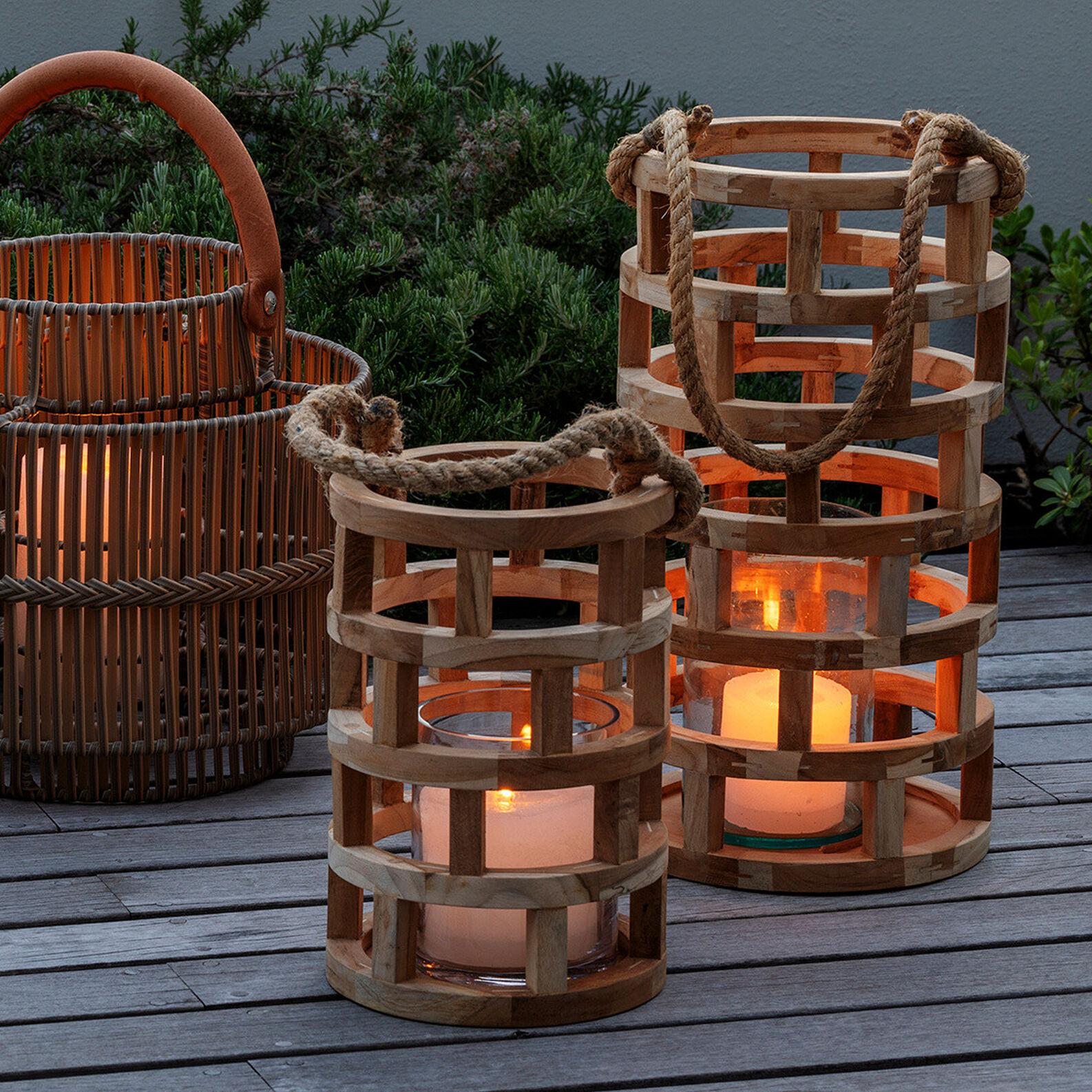 Handmade teak lantern