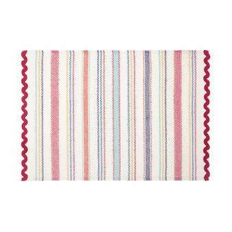 100% cotton table mat with stripes and trim