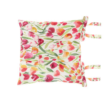 Seat pad in 100% cotton with tulips print