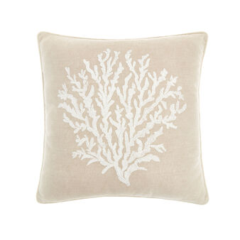 Cotton cushion with coral embroidery 45x45cm
