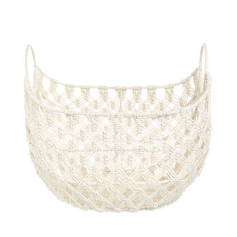 Cotton basket with macramé design