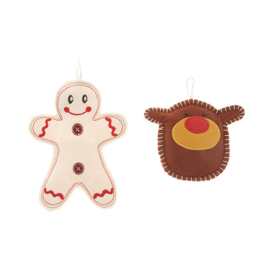 Set of 2 Gingerbread and reindeer decorations in felt