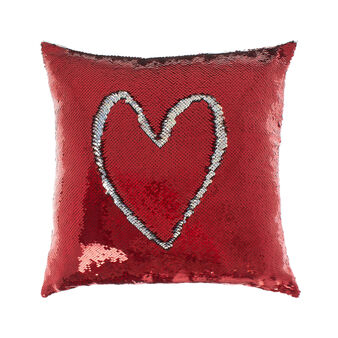 Cushion with red sequins 45 x 45 cm