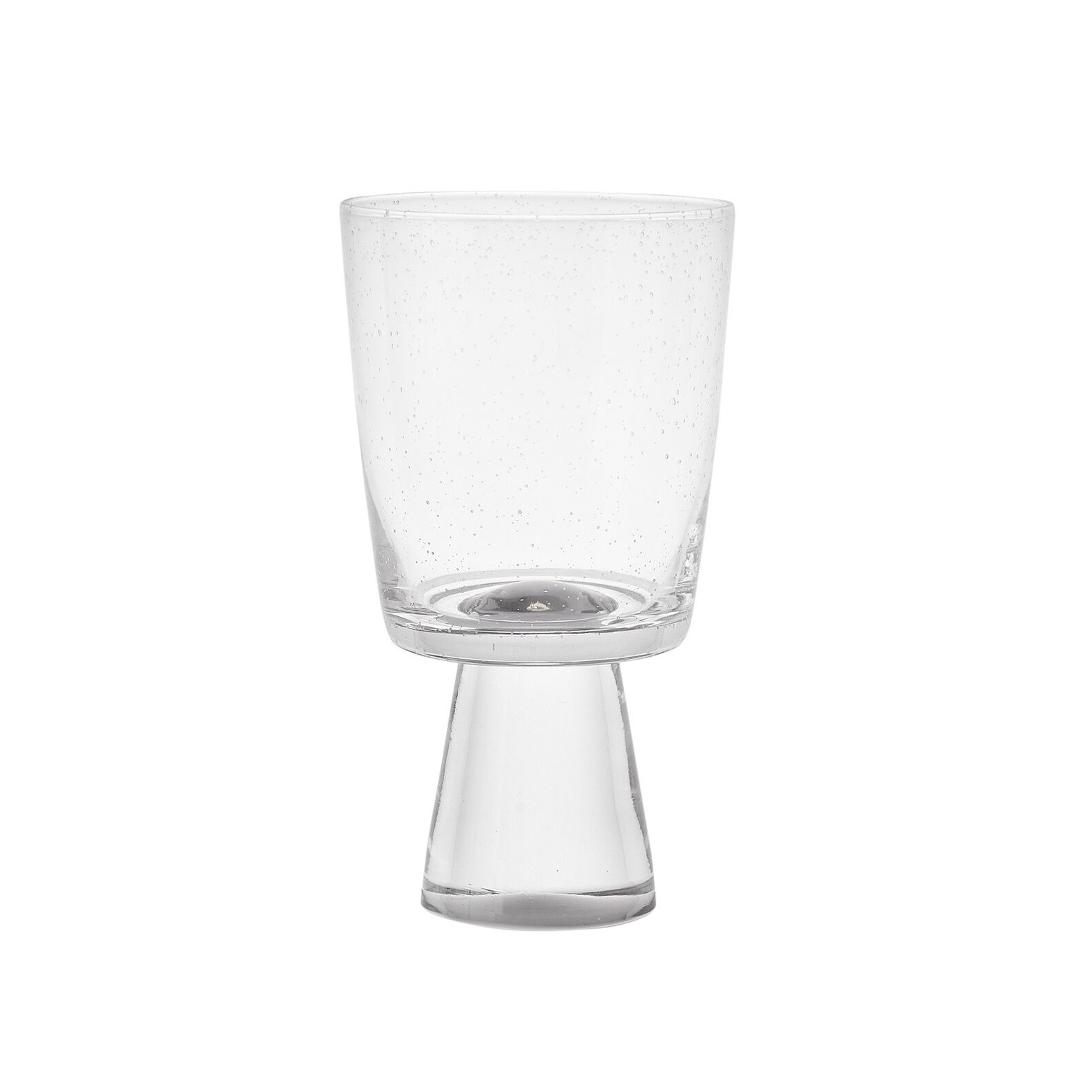 Glass water goblet with bubbles