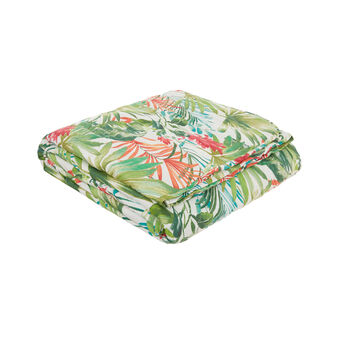 Cotton satin quilted bedspread with tropical pattern