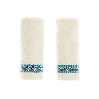 Set of 2 face cloths in 100% cotton with jacquard flounce