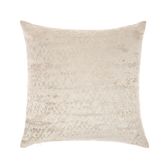 Velvet cushion with jacquard design