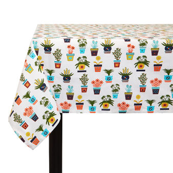 Cotton twill tablecloth with vases print