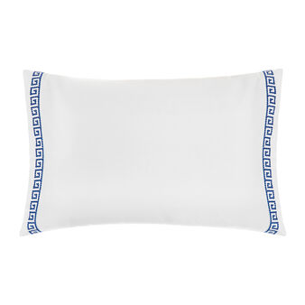 Cotton percale pillowcase with Greek embroidery