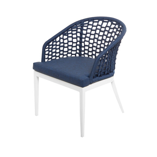 Small Mediterranean armchair in polyester and aluminium