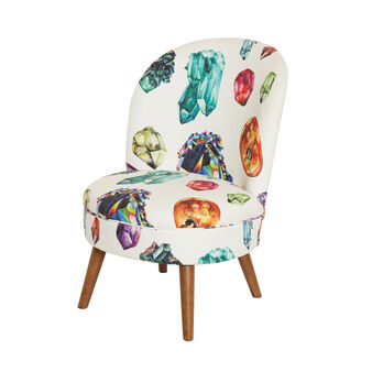 Stones small velvet armchair with print
